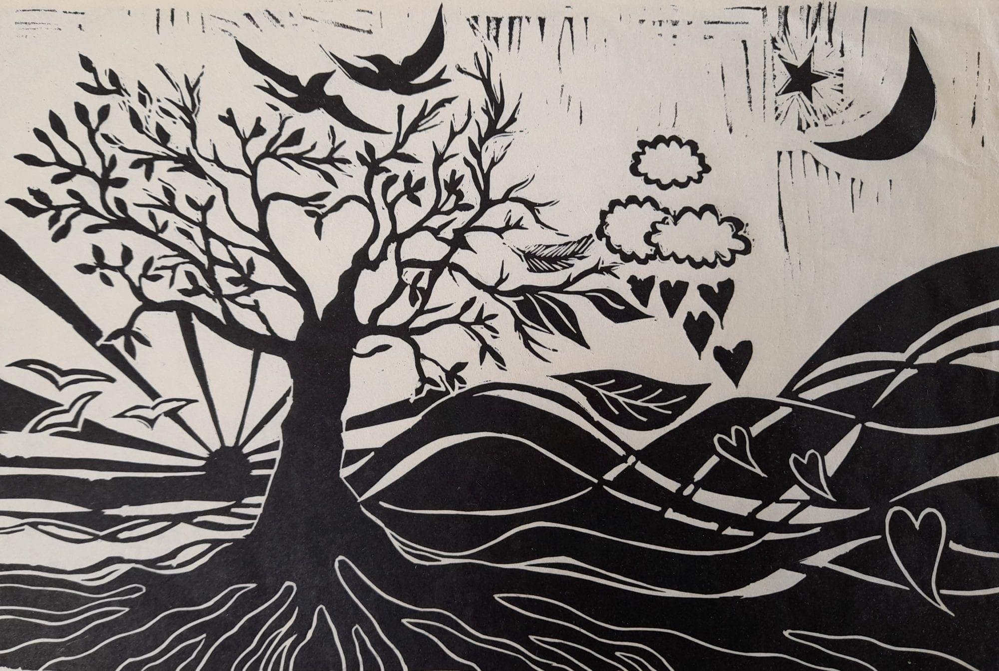 linocut of a countryside scene