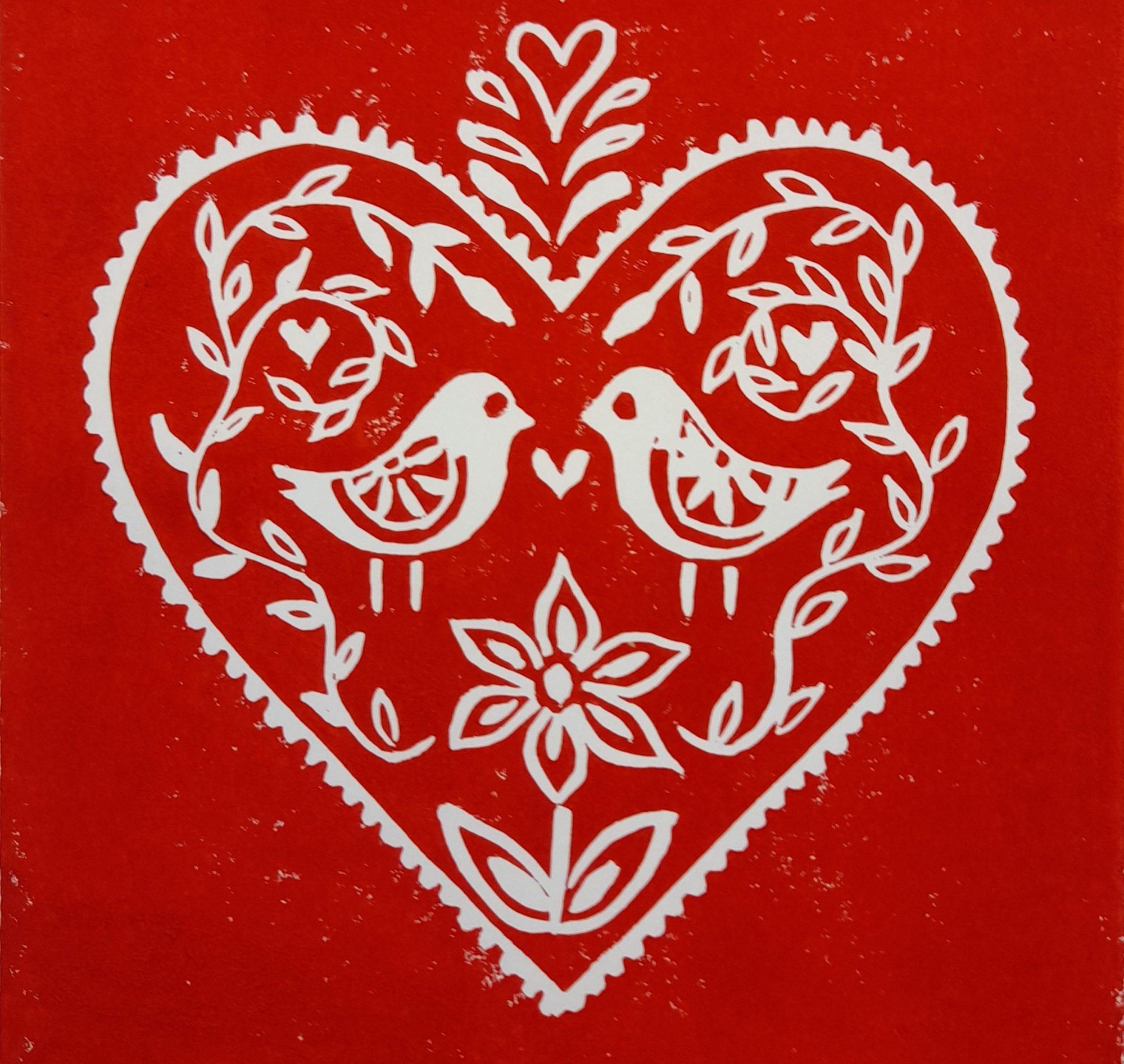 nordic heart linocut