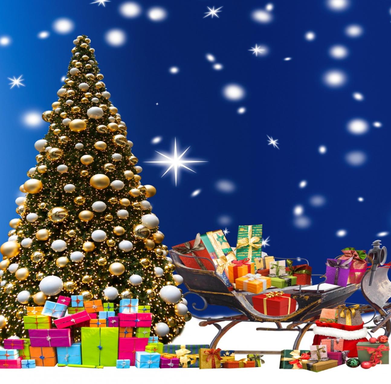 christmas tree and sleigh